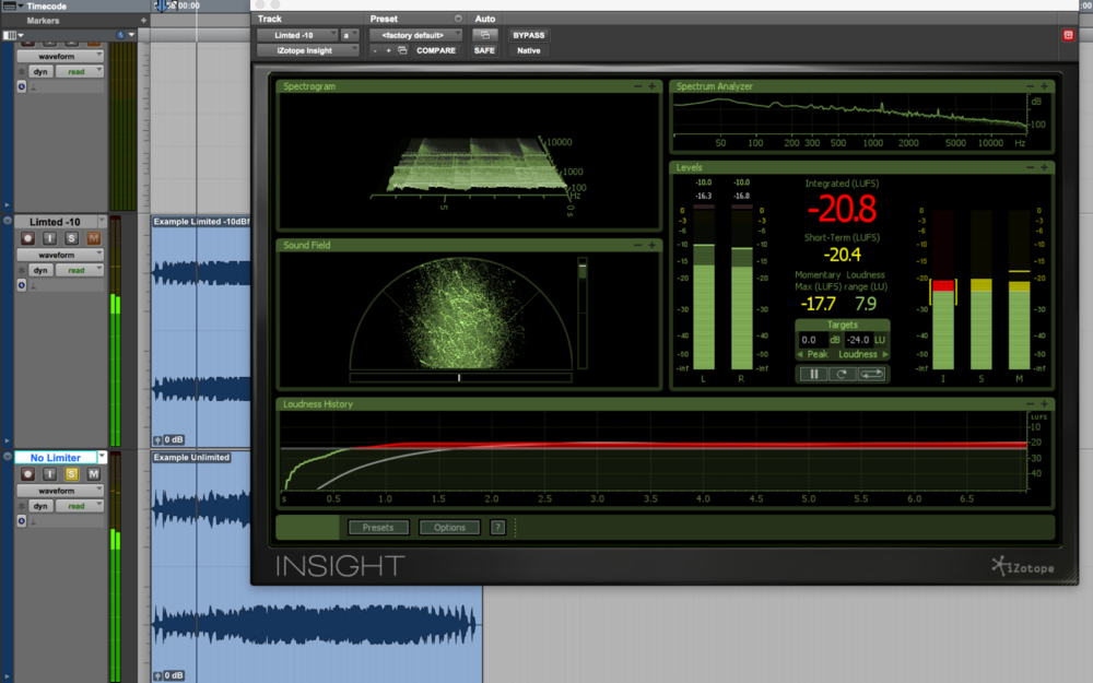 Izotope Insight in a Pro Tools session