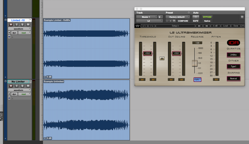 Screenshot of a mix with a limiter at -10dBfs (you can see the compression smashing the mix. It doesn't sound very good!) and the same mix without. If your average loudness reading is too hot and your mix looks like the upper, there's a good chance that your mix (or dialog) is overcompressed.