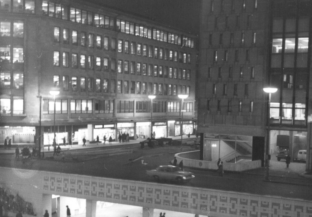 Colmore Circus – 1960s   Colmore Circus as many Birmingham residents still remember it, with the underpass and the old Wesleyan Chief Office and Gaumont Cinema.   The view from the Wesleyan building shows the old Greys Department Store on Bull Street decorated for Christmas