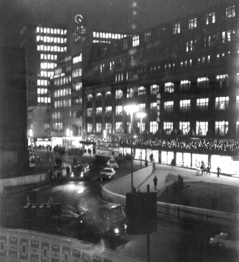 Colmore Circus – 1960s    The view from the Wesleyan building shows the old Greys Department Store on Bull Street decorated for Christmas