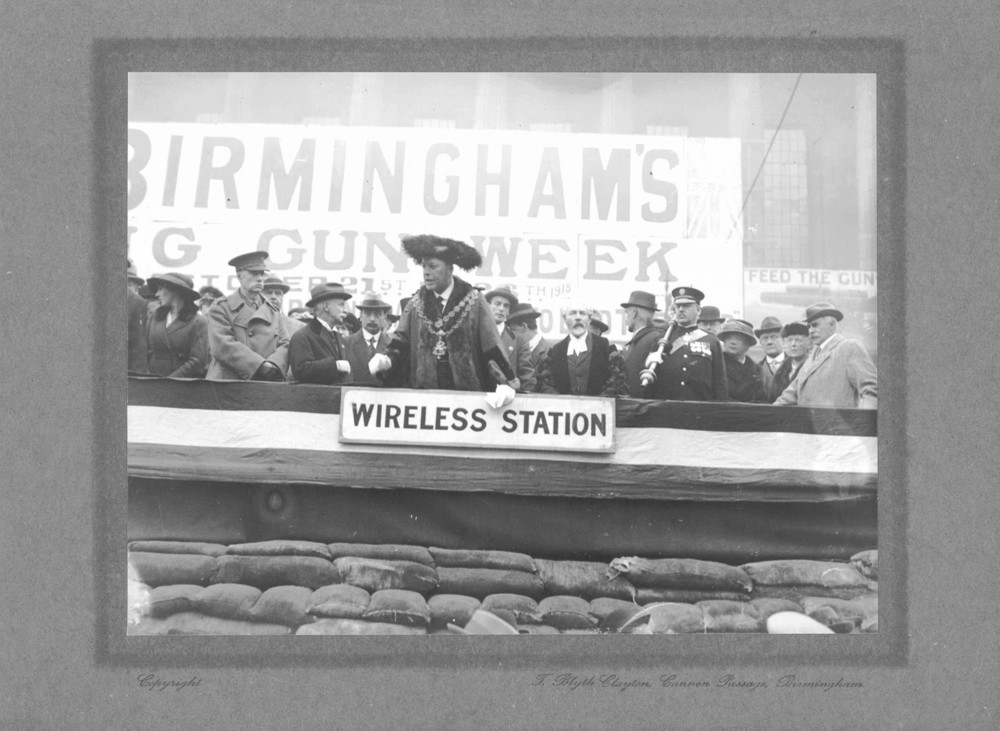 Lord Mayor of Birmingham   During the First World War local people were encouraged to buy War Bonds to help the war effort. Here the Lord Mayor of Birmingham rallies the crowd outside the Town Hall during Birmingham's 'Big Gun Week' in October 1918.