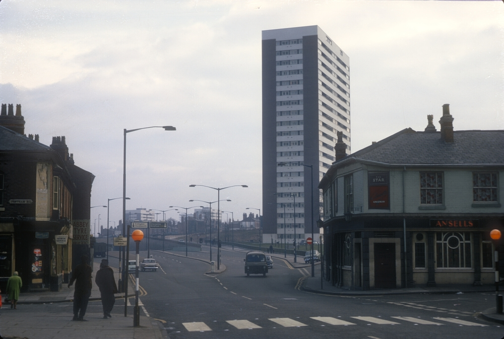 Aston, Birchfield Rd, underpass near Six Ways, leading to High St. View Point Fentham Rd. View South towards Clyde Tower (Chain WalkLozells Rd) 10th March 1968