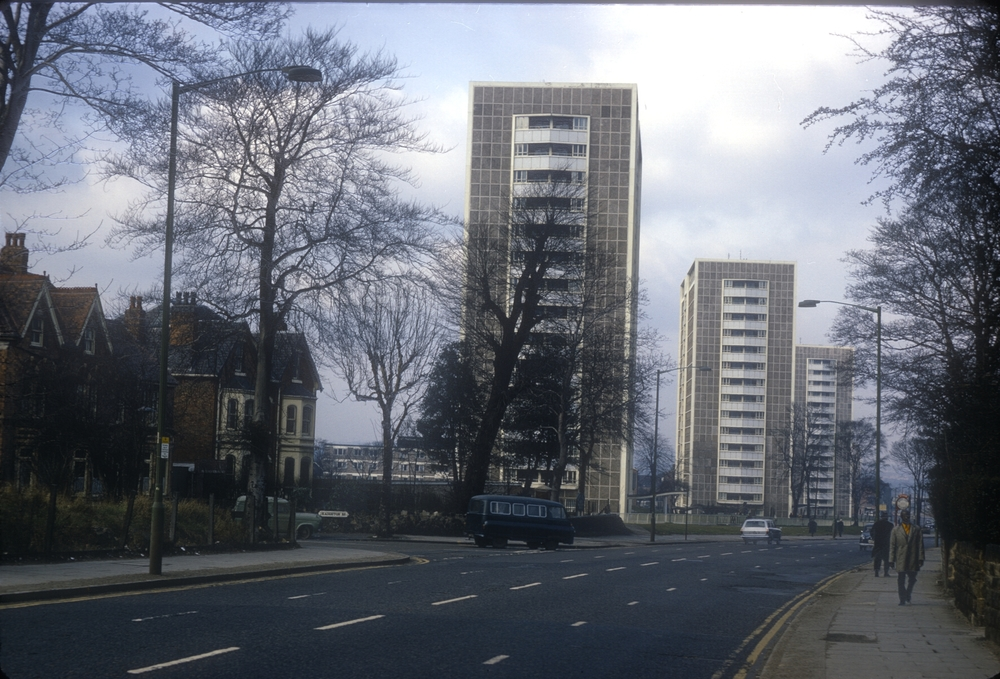 Aston, Birchfield Rd with falts near Livingstone Rd (built 1961). View fro Nr Trinity Rd. 10th March 1968