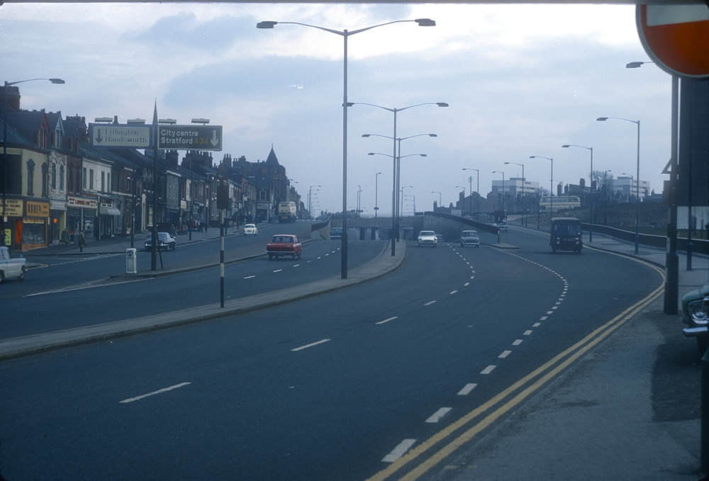 Aston, Six Ways Underpass (Birchfield Rd to High St). Clyde Tower to the right. 10th March 1968