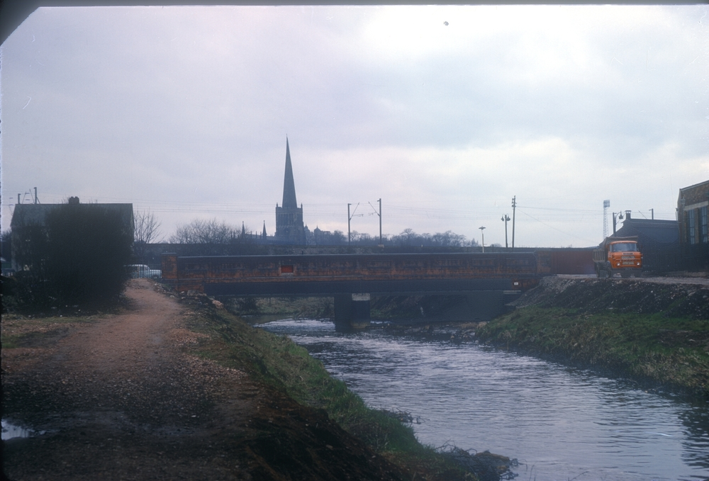 Aston, The River Tame, Aston Church and the Tame Valley taken from just below the Electric Avenue bridge, Witton, view upstream. 14th March 1968