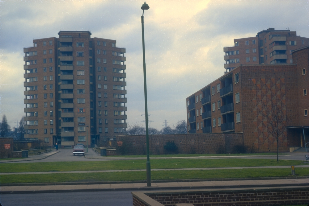Photograph of Aston, Holte Estate Flats, Salford Park, Murdoch Point left. Priestly Point right. Views from Aston Hall Rd. 14th March 1968