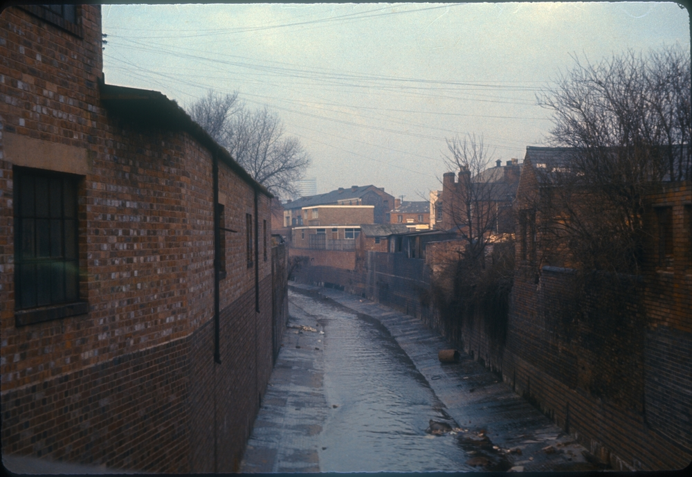 Balsall Heath River Rea from bridge on Belgrave Road (View North, back of Gooch Street on the right) (No date)