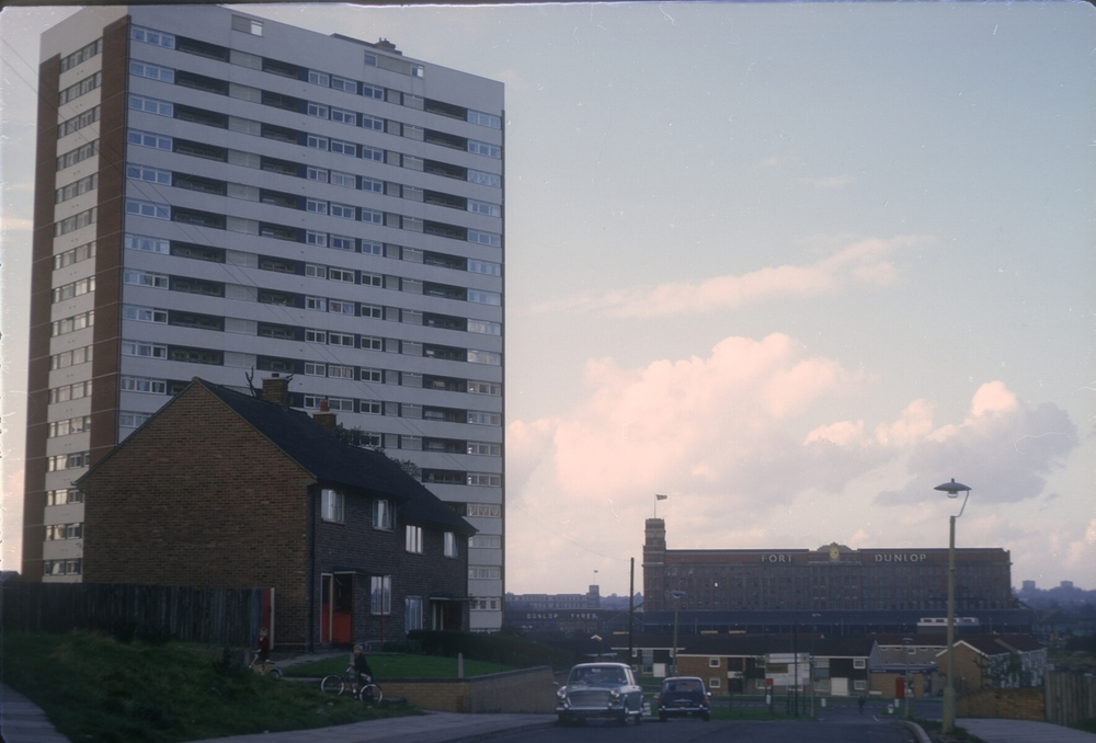 Bromford Chipperfield Road,  Bromford Road. 20-Storey flats (L), Fort Dunlop Factory in the Centre. 13th October 1968