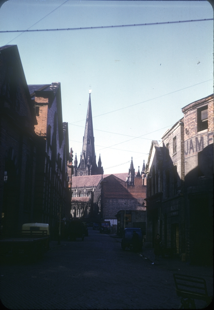 Moat Lane and St Martin's Church. 26th February 1954