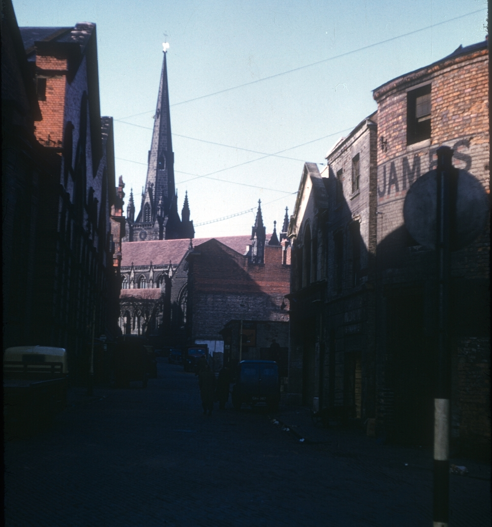 Moat Lane towards St Martins's Church. 26th February 1954