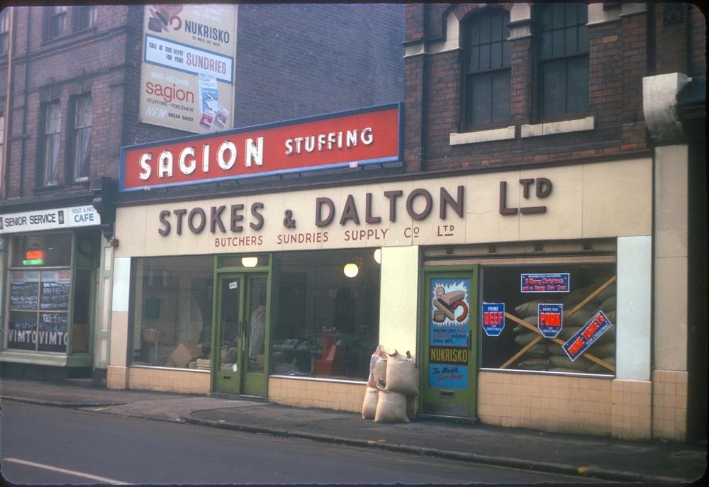 Sherlock St nr Jamaica Row (near meat market) Stokes and Dalton Ltd, Butchers and Sundries Supply Company. 28th November 1968