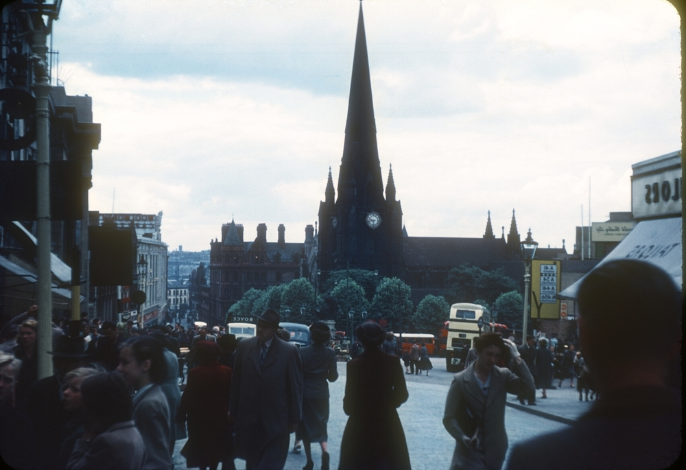 The Bull Ring and St Martins Church. 30th July 1953