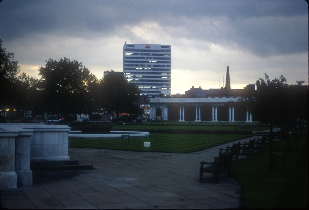 Broad St, British Rail House, Near Berkeley St. View southwest from the Civic Centre Gardens. 24th September 1968