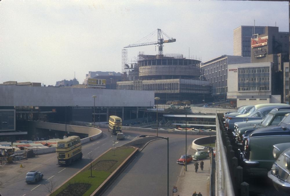 Bull Ring & Rotunda Redevelopment - View from Multi-Storey Carpark. 6th April 1963