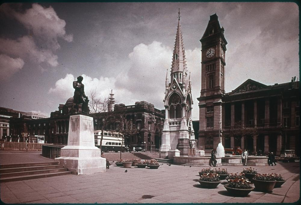 Chamberlain Square - Statue of Joseph Priestly. 18th April 1959