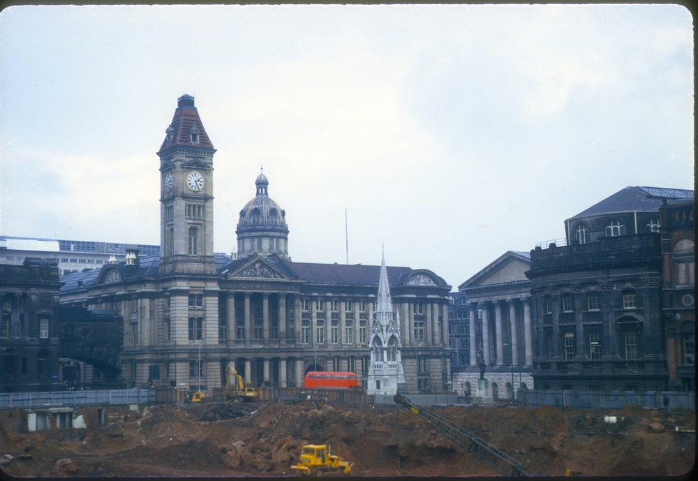 Corner of Chamberlain Square - Edmund St - Council HouseTown Hall- Pardise Circus area, site for the Central Library. 10th February 1968