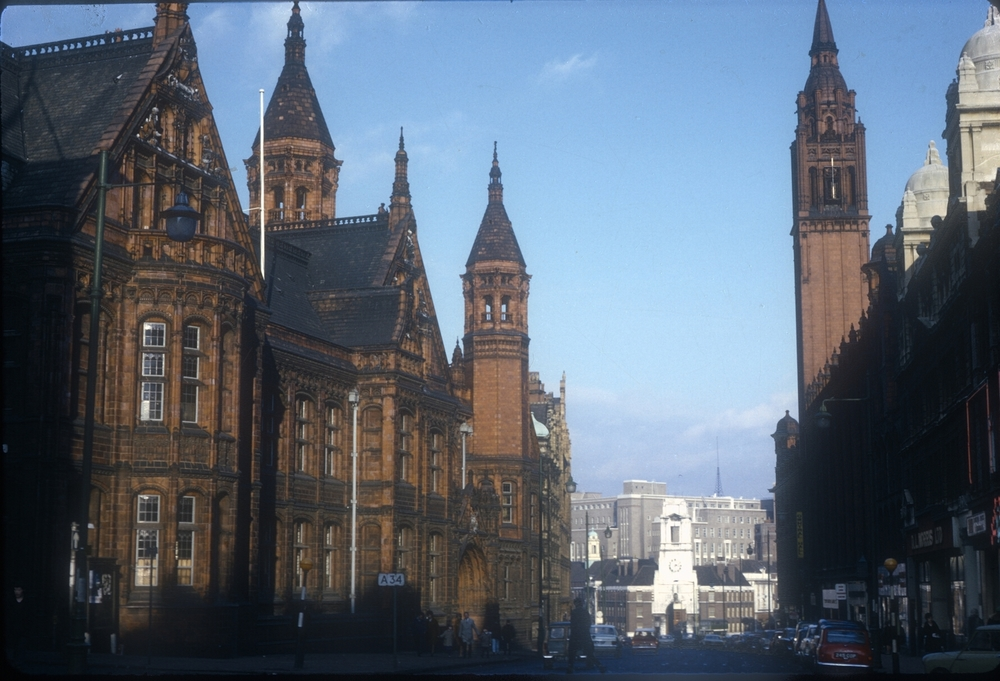 Corporation St Law Courts left, Central Hall right, Firestation and Aston University in the distance. 5th January 1969