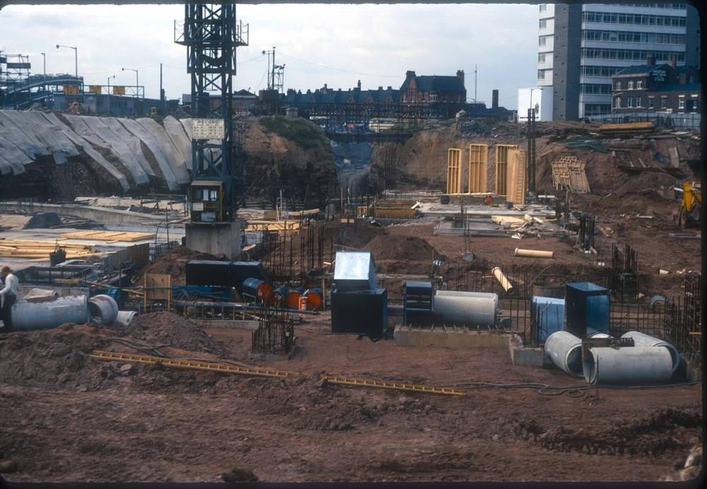 Cutting the tunnel through sandstone - Paradise Circus view from Edmund St. 23rd August 1969
