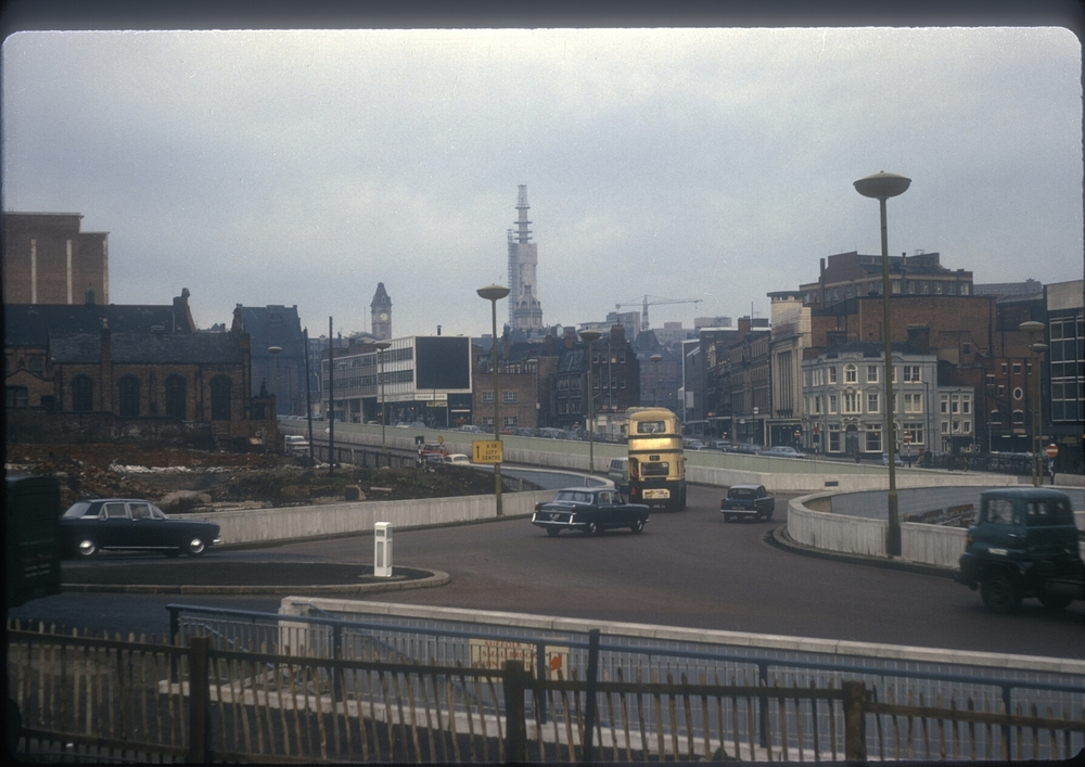 Holloway Circus (Suffolk StJohn Bright St), GP Tower under construction in the distance. 6th January 1966