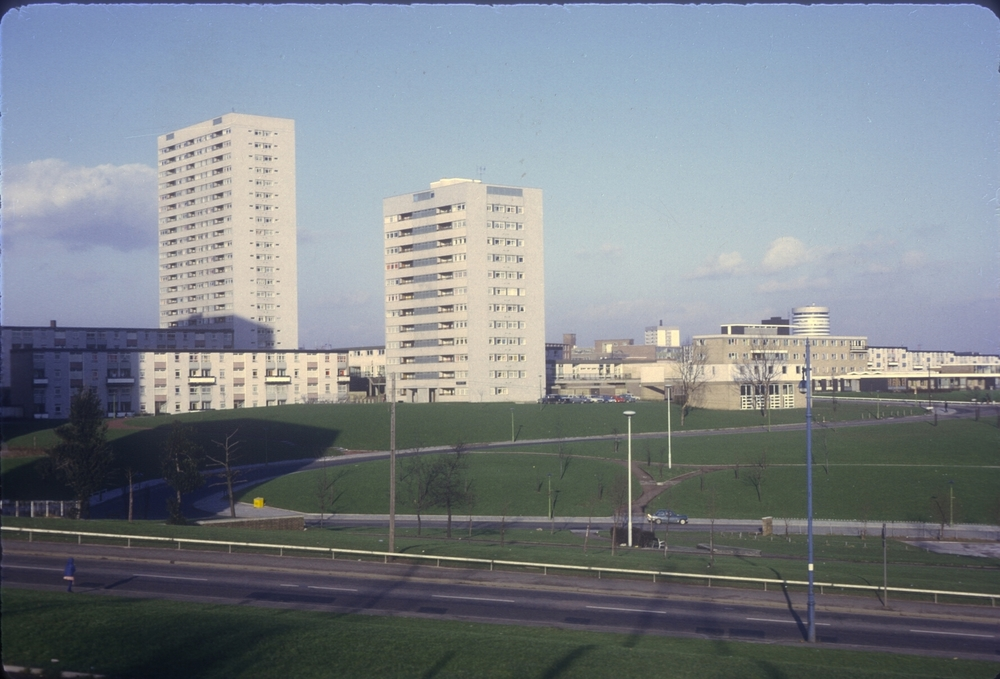 Lee Bank, View from Lee Crescent towards City Centre. Lee Bank Rd, Great Colmore St. Across the Green. 27th January 1969