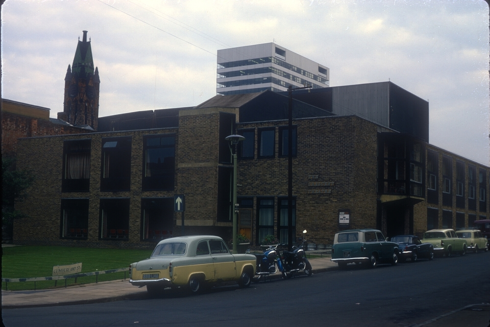 New Crescent Theatre, Cumberland St, Off Broad St. British Rail House in the distance. (Broad Street) 24th September 1968
