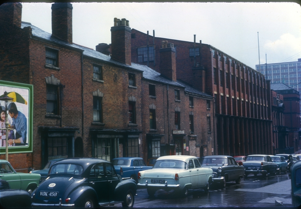 Newhall St between Charlotte St and Brook St - Assay Office on the corner of Charlotte St (R) 14th May 1963