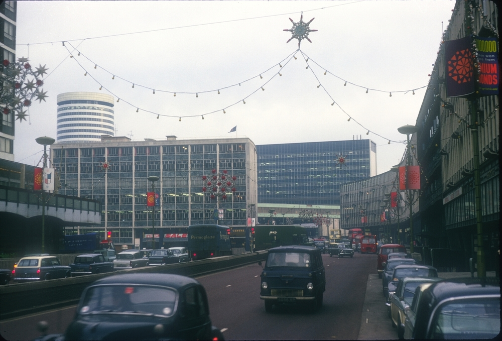 Smallbrook Ringway with Christmas Lights. 6th January 1966