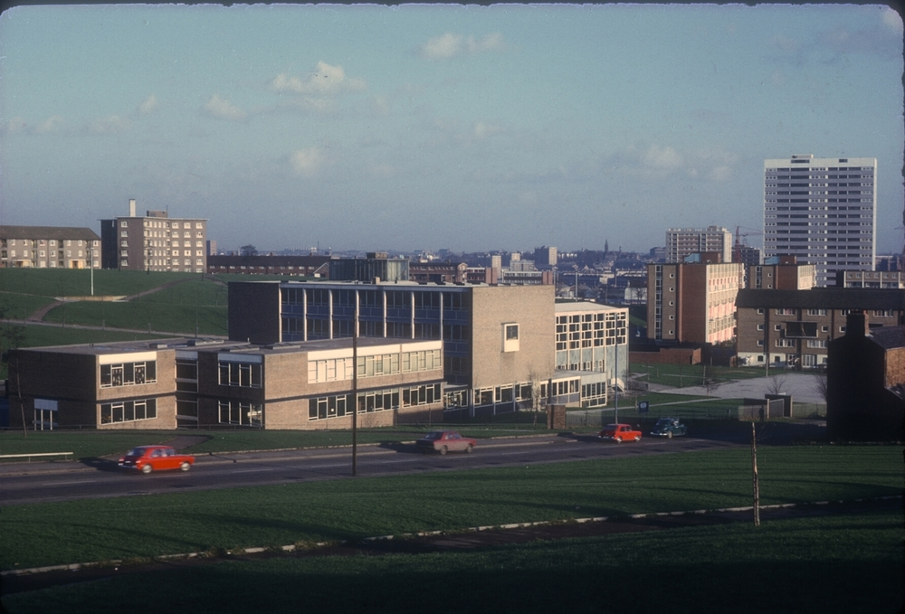 View from Lee Crescent, Bristol St, Belgrave Rd, Lea Mason Church of England School, Bell Barn Rd. 27th January 1969