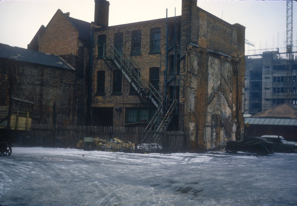 Gun Quarter (In decay). 16-18 Whittall Street. Backs of premises - Thomas Wild Gunworks. 16th February 1963