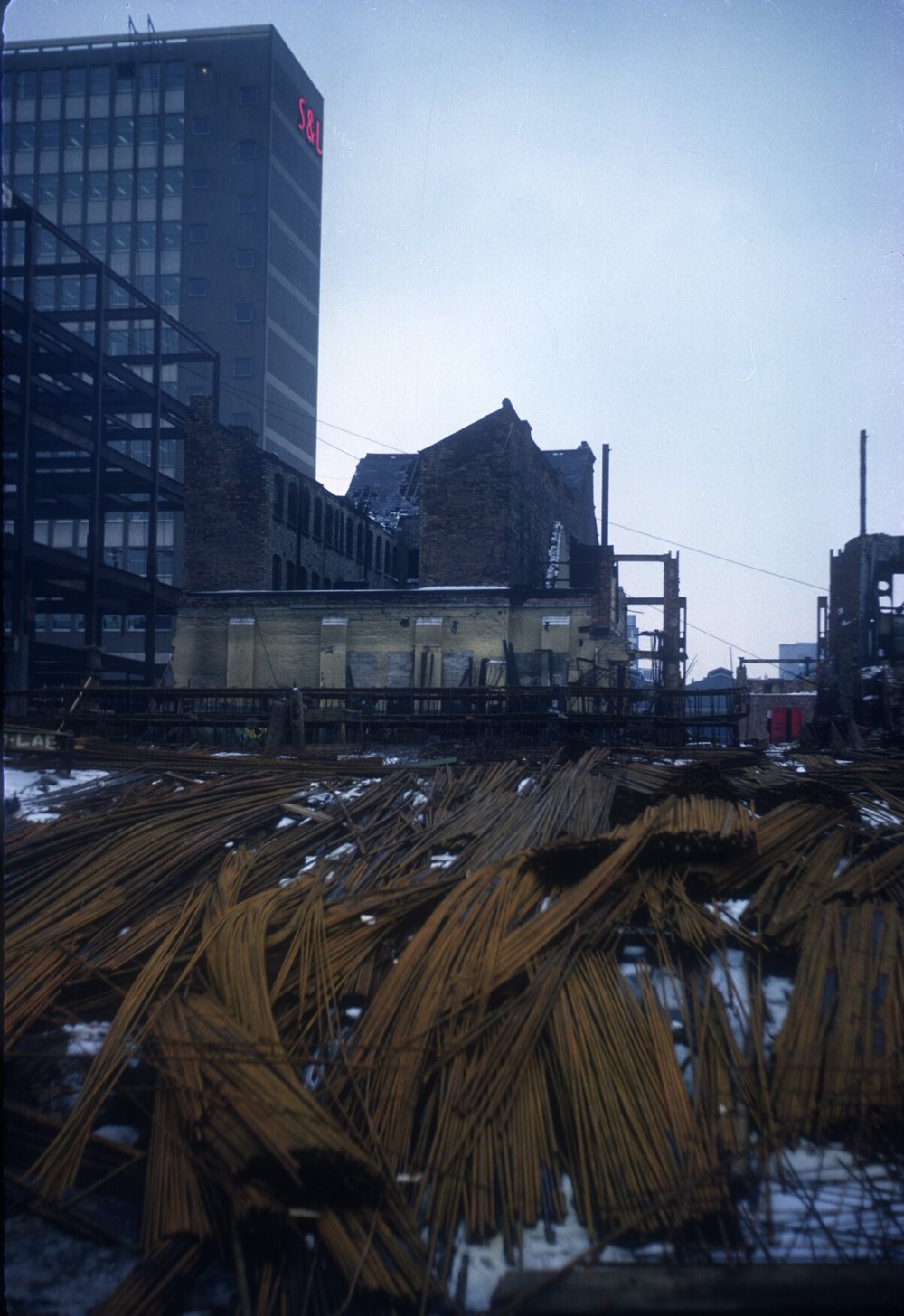 Gun Quarter (In decay). Stewarts and Lloyds Offices (Snow Hill. Construction across Weanan Street) View point Whittall Street, Opposite St. Mary's Row. 16th February 1963