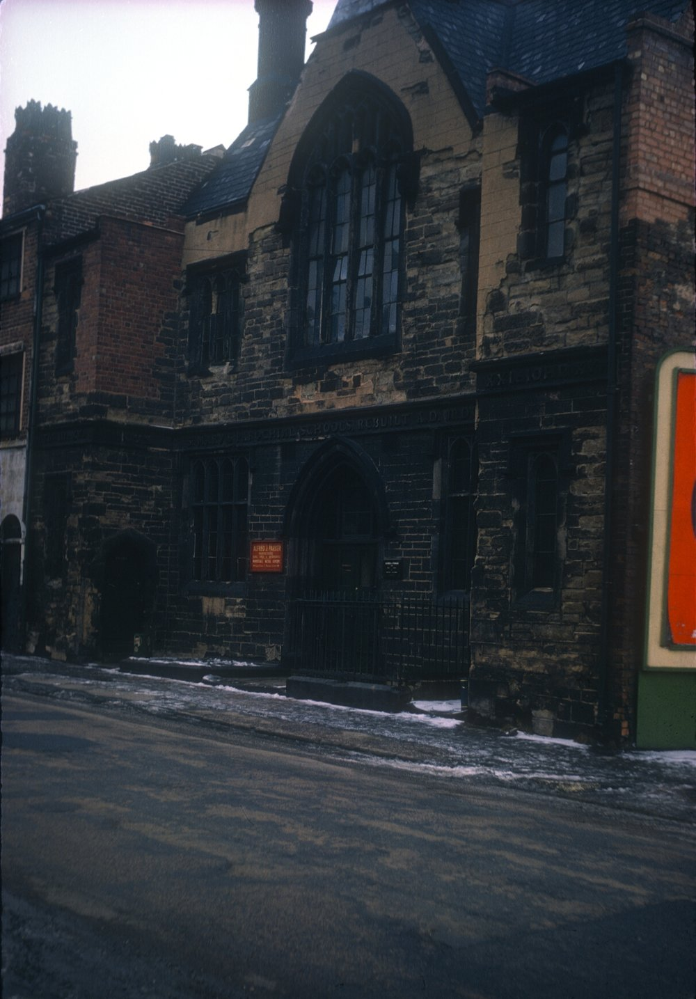 Gun Quarter Bath Street, St. Mary's Parochial Schools (Rebuilt 1845). Later Alfred J Parker - Manufacturer of guns, rifles and accessories. 13th February 1963