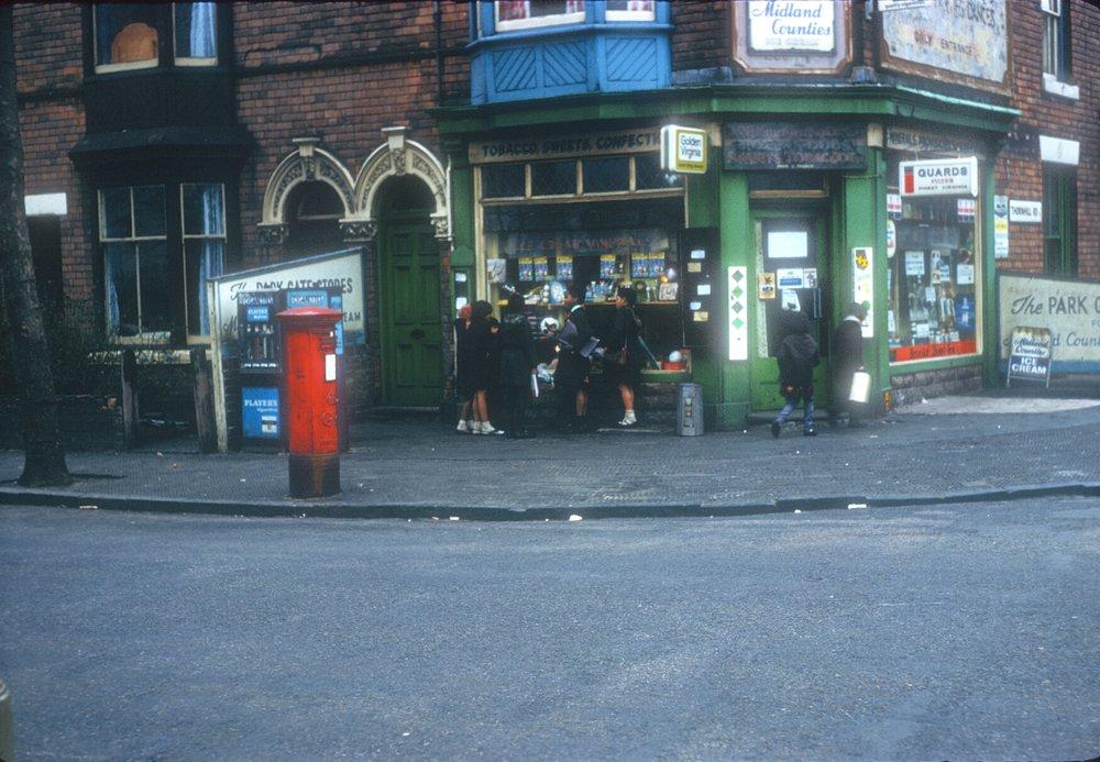 Handsworth - Children outside Corner Shop. Thornhill Road, Holly Road Corner (Opposite Handsworth Park) 8th March 1968