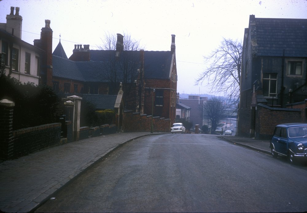 Handsworth Hunters Road. St Mary's Convent to the left (Built 184041) View South towards Soho Road. 2nd March 1968