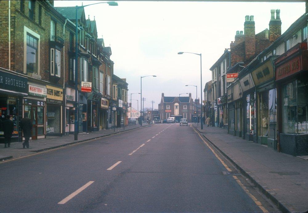 Handsworth Villa Road - Villa Cross at top, Heathfield Road (Left), Lozells Road (Right) 8th March 1968