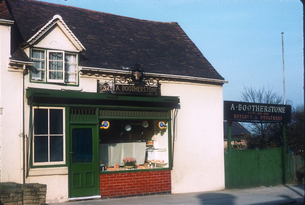 Harborne High Street, A. Bootherstone Butchers (Established 1844) Farm Buildings at rear. 6th March 1961