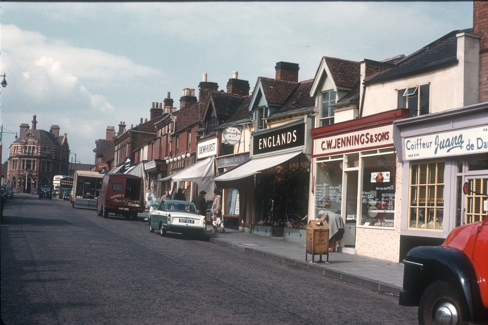 Harborne High Street. View towards the Junction Public House (Old houses converted to shops). 12th August 1960