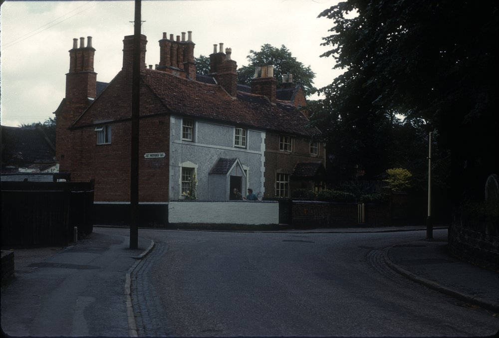 Harborne Old Cottages, Corner of St. Peter's Road and Old Church Road (Houses on this site since 1790) 12th August 1960