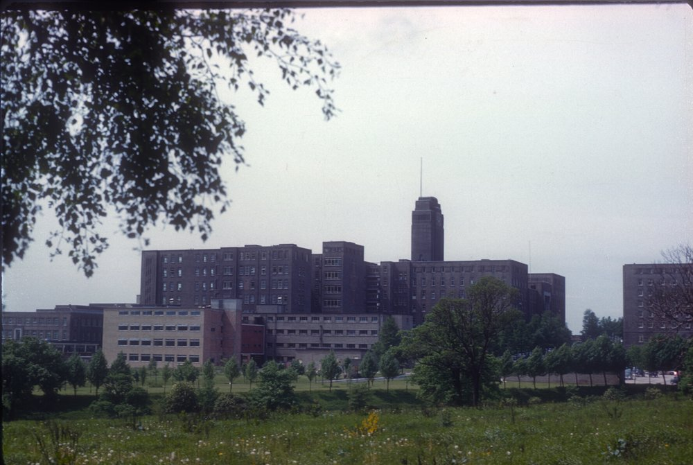 Queen Elizabeth Hospital from Pritchatts Road (Vincent Drive Corner) 25th June 1960