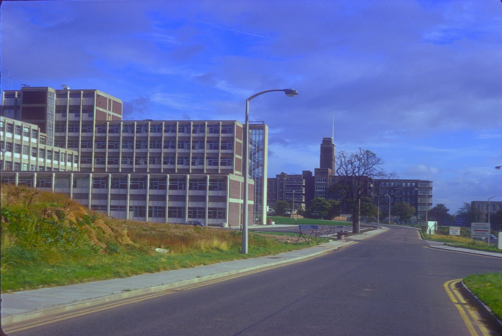 Queen Elizabeth Hospital to the right and part of New Maternity Hospital (Open September 1968) 13th October 1968