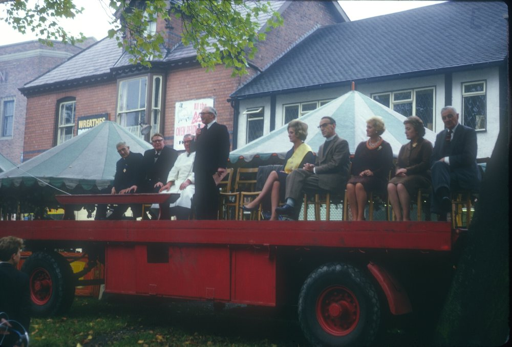 Kings Norton, Opening of The Mop 1963. Mr E. M Klayson, Chairman (Birmingham Post & Mail) 7th October 1963