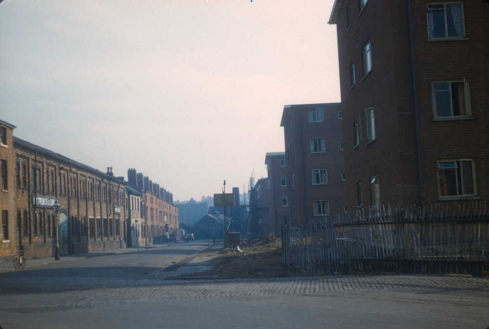 Ladywood redevelopment, factory units on the left and modern maisonettes on the right. 2nd March 1957