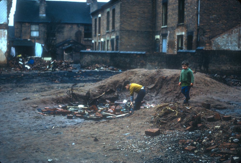 Ladywood, back of Anderton St off King Edwards Rd (east of Monument St). Demolition in progress some houses still inhabited. 10th February 1968