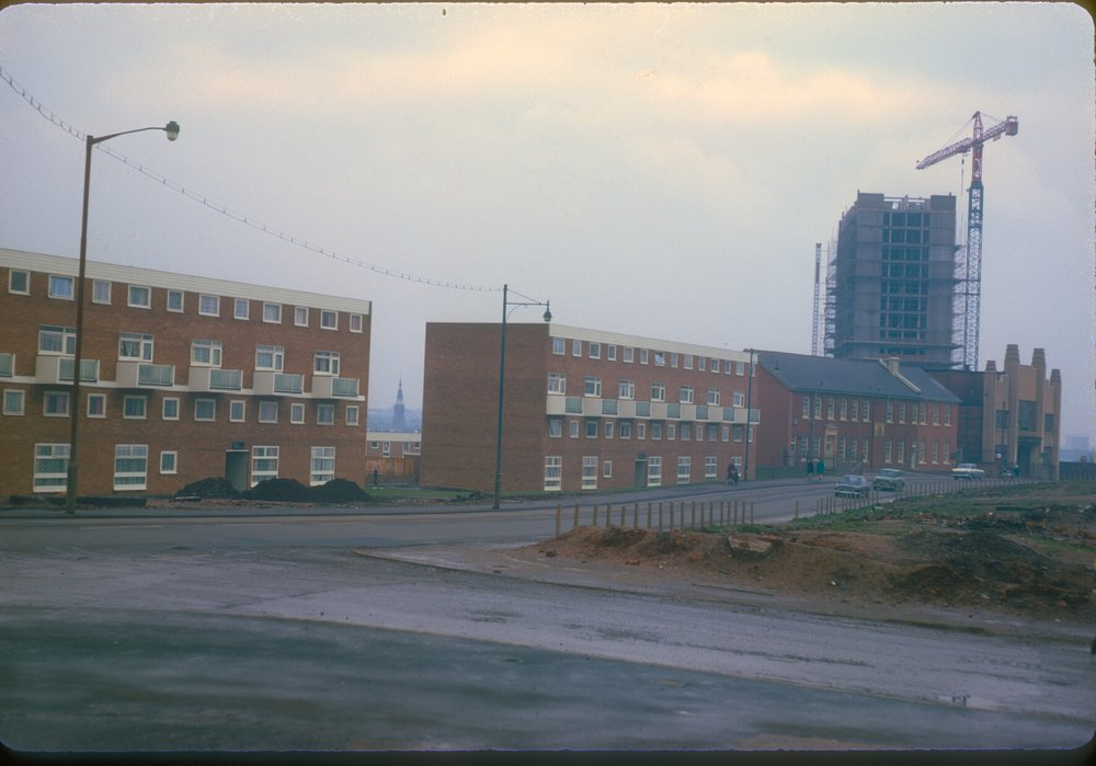 Ladywood, Brooklands in rear. Monument Rd from Shakespeare Rd (near Rey bridge) 10th February 1968