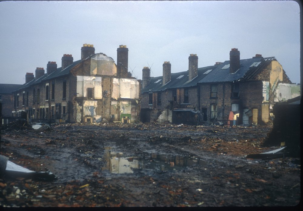 Ladywood, demoltion of Anderton St Terraces - off King Edwards Rd east of Munument Rd. 10th February 1968