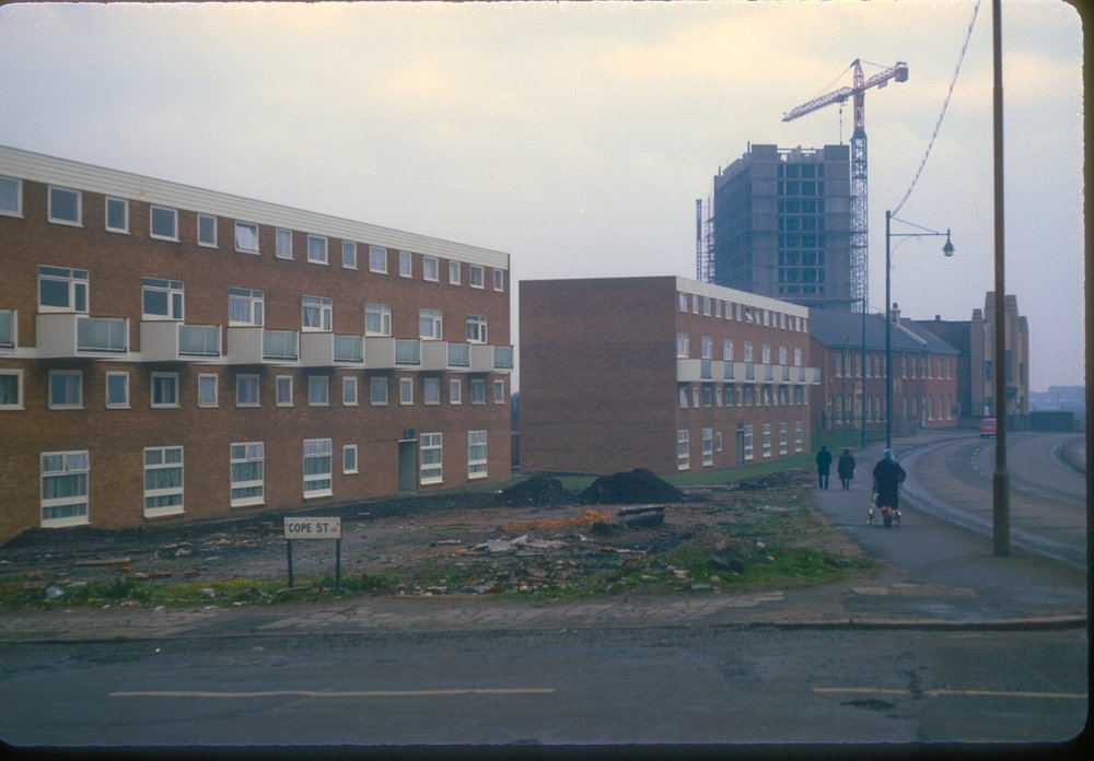 Ladywood, new housing on the corner of Monument Rd and Cope St.The old Palais de Dance in the distance. 10th February 1968