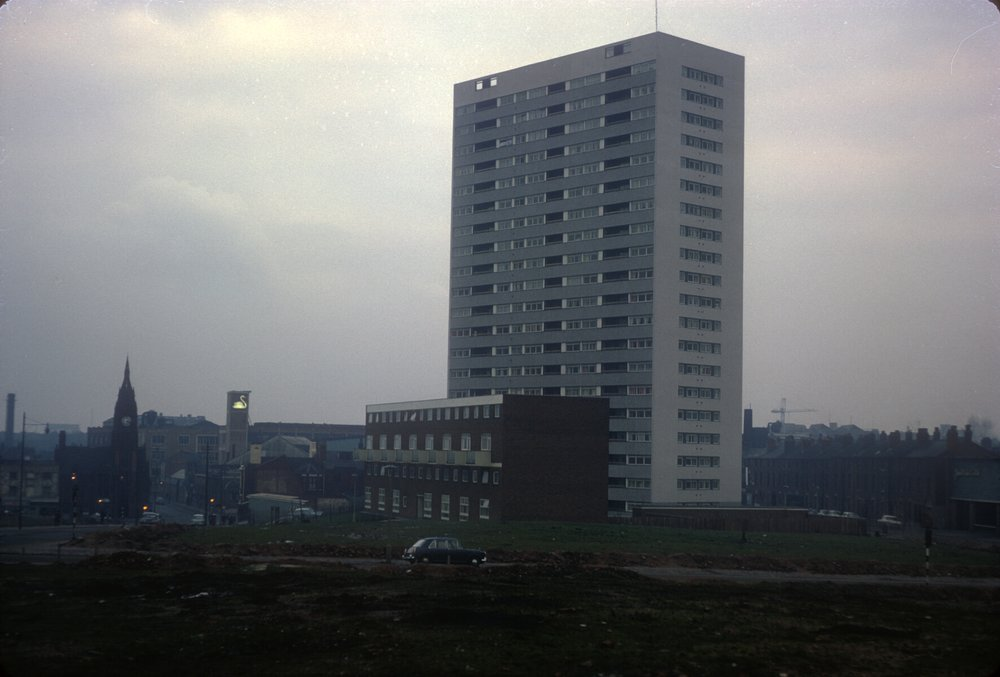 Ladywood, new flats in St Mark's St off Summer Row (near Monument Rd). Spring Hill Library (L) Bulpitts, Swan Brand Aluminium (R) 10th February 1968