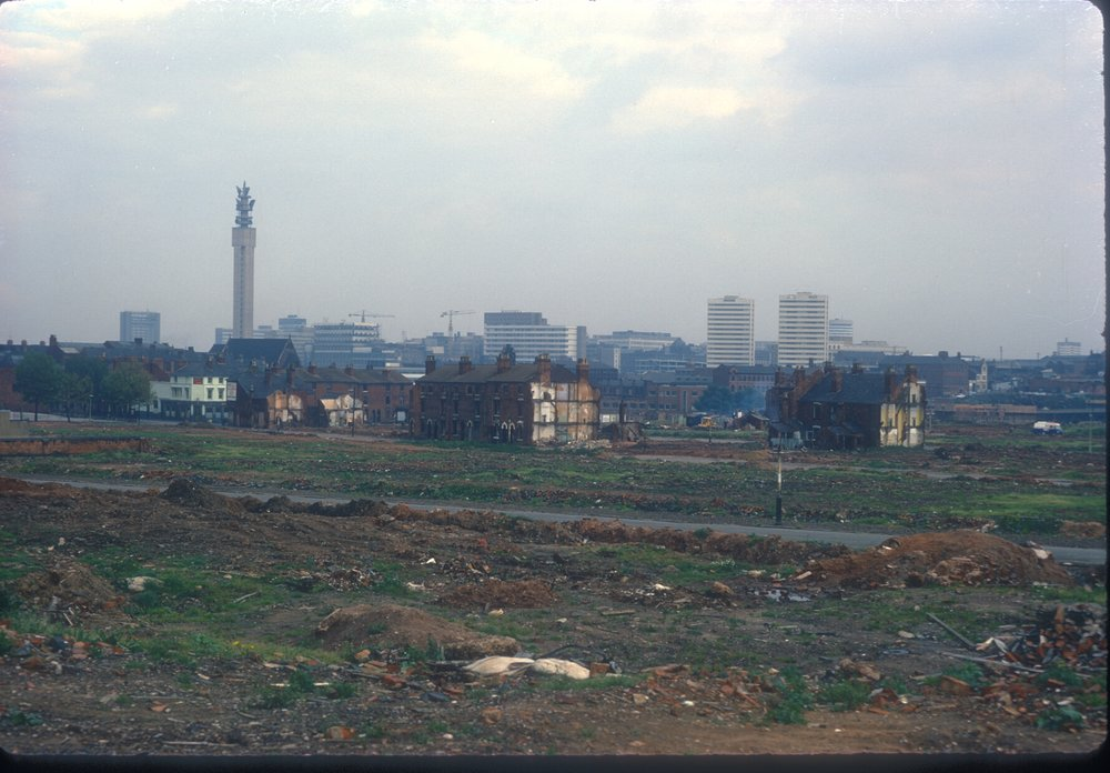 Ladywood, view point Monument Rd, Shakesepeare Rd, view towards city centre. Flast to the right by Cresecent Canal. 24th September 1968