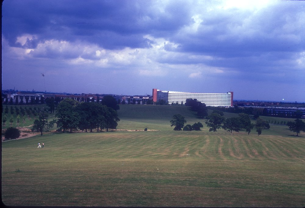 Longbridge, Austin Car Storage Park (Seen from Cofton Park) BMC Factory to the left, Kings Norton Church Spire to the right. 15th July 1967