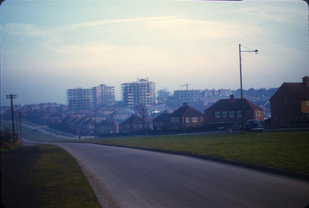 Maypole, Warstock Road. New flats on Millpool Hill. 2nd March 1957