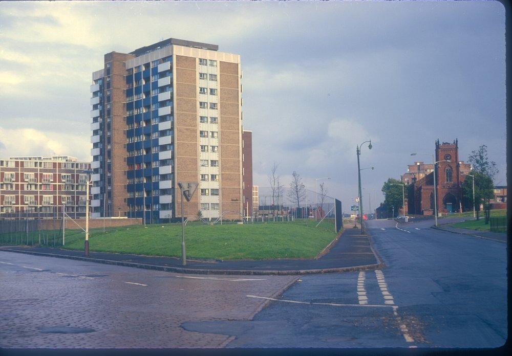 Nechells Green, Great Lister St, view north, view point Rupert St Gt Lister St corner. St Matthews church (1839-40) to the left. 13th October 1968